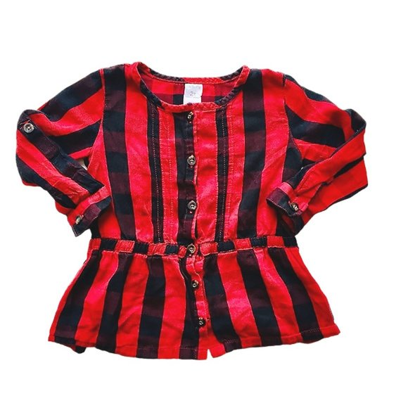 Black And Red Plaid Skirted Blouse